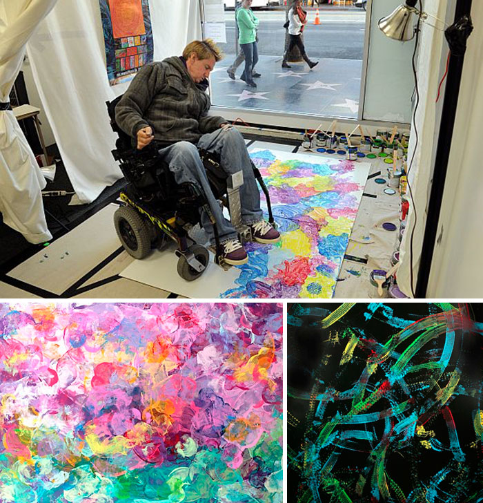 Tommy Hollenstein Paints With The Help Of His Wheelchair, Which He Was Bound To After A Mountain Bike Accident Left Him With A Broken Neck