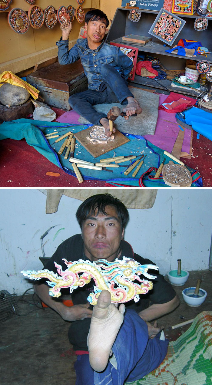Pema Tshering Has Cerebral Palsy, But Can Use His Feet Like Hands. An Incredible Artist, And Absolutely Fascinating To Watch