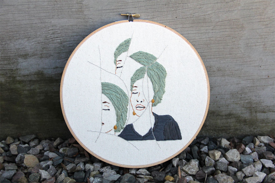 I Embroidered Fractured Portraits Of Women, Inspired By The Women's March