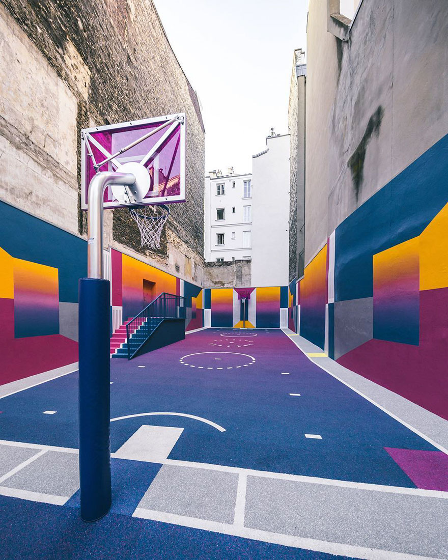 this technicolor basketball court in paris just made the city even