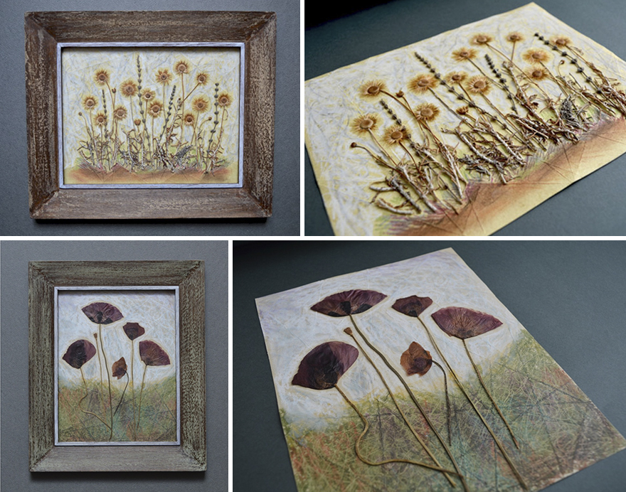 I Use Dried Pressed Plants And Paint To Create Original Artworks