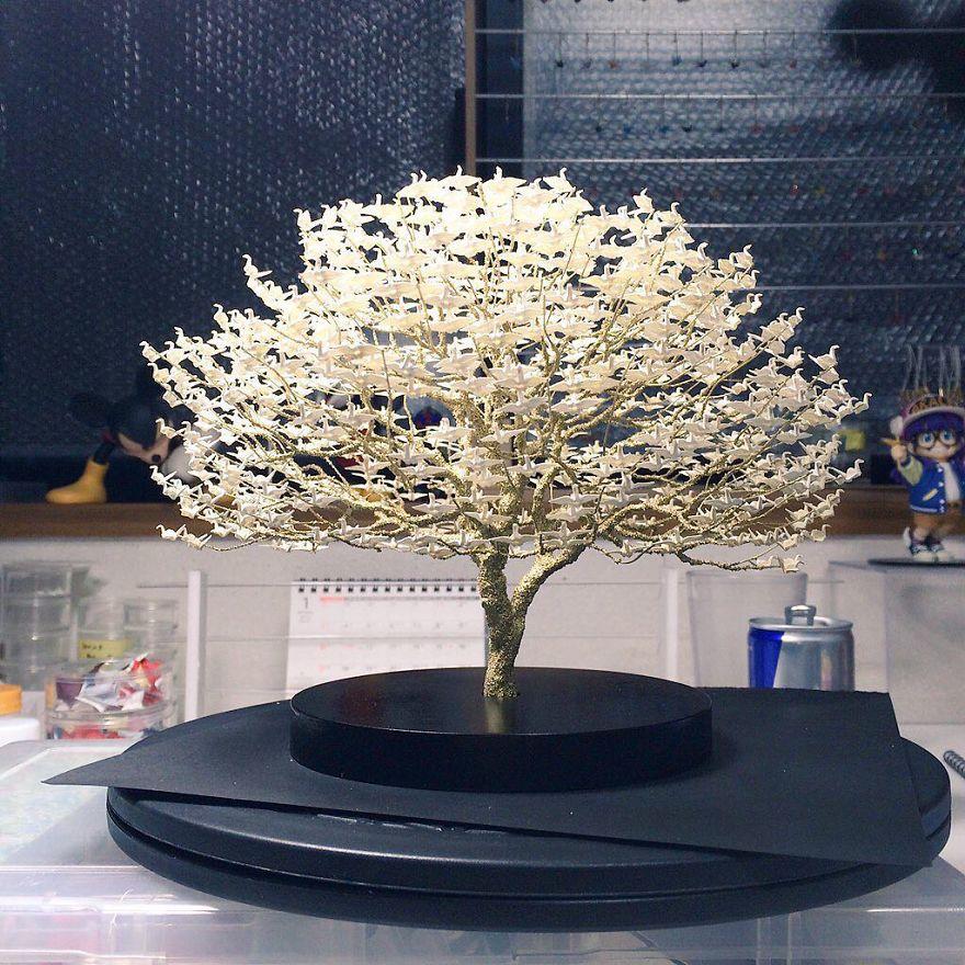 1000s Of Miniature Origami Cranes Turned Into Incredible Bonsai Trees By Naoki Onogawa