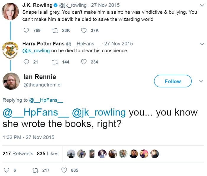 Harry Potter Fan Reveals Snape's True Motivation To... JK Rowling
