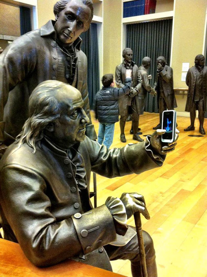 Benjamin Franklin Taking A Selfie