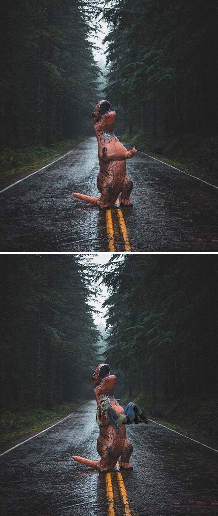 Man In T-Rex Costume Crying Out In Rain