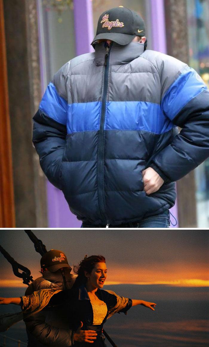 Leonardo Dicaprio ocultándose de los paparazzi
