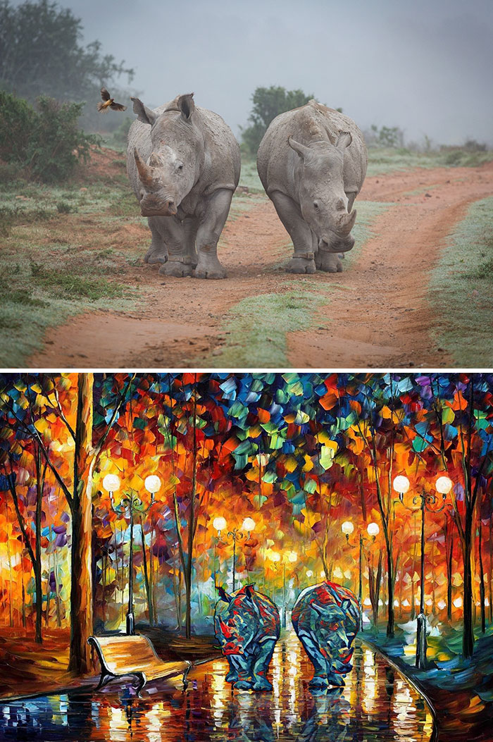 The Rhino Couple Just Reminded Me Of The Two Lovers Walking In The Rain From Leonid Afremov's Rain's Rustle Painting