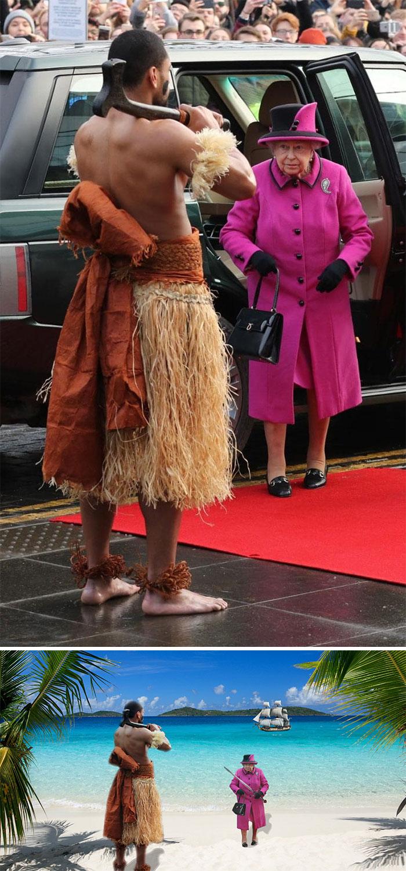Queen Greeted By Fijian Warrior