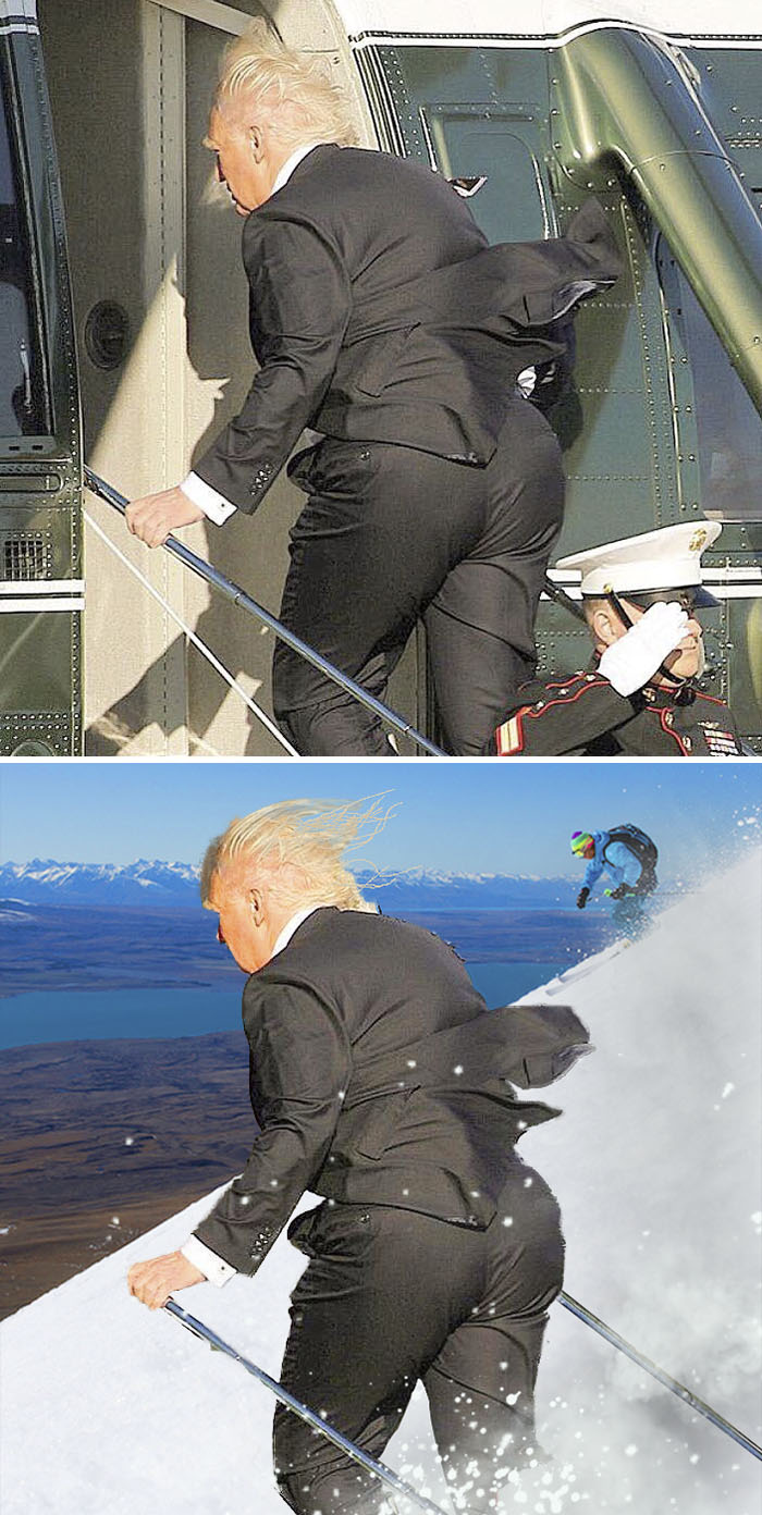 The Donald Enters A Helicopter