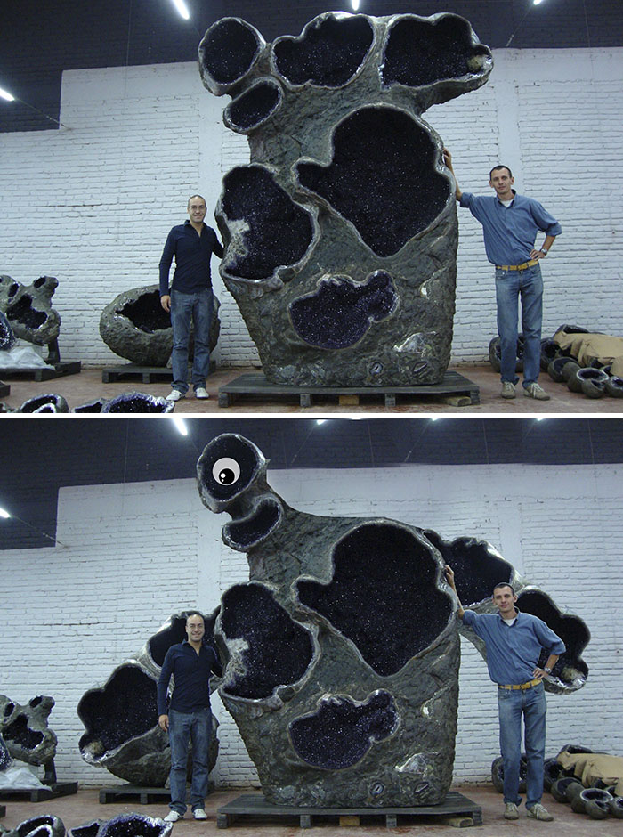 These Dudes Standing Next To A Giant Amethyst Geode
