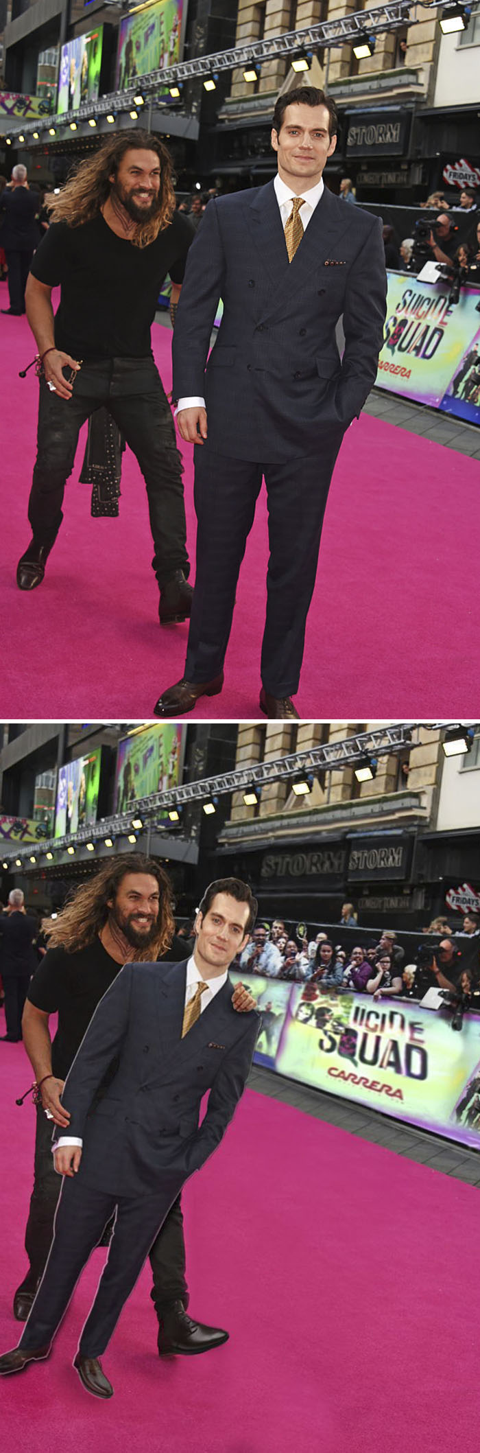 Jason Momoa Sneaking Up On Henry Cavill
