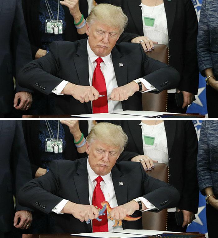 Trump intentando cerrar su pluma
