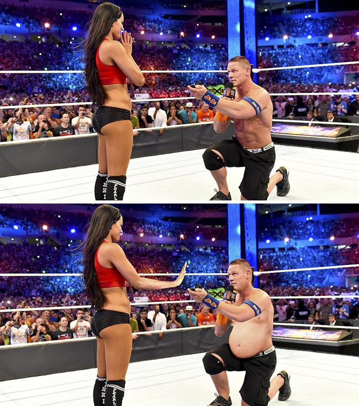 John Cena Proposing To Nikki Bella At Wrestlemania