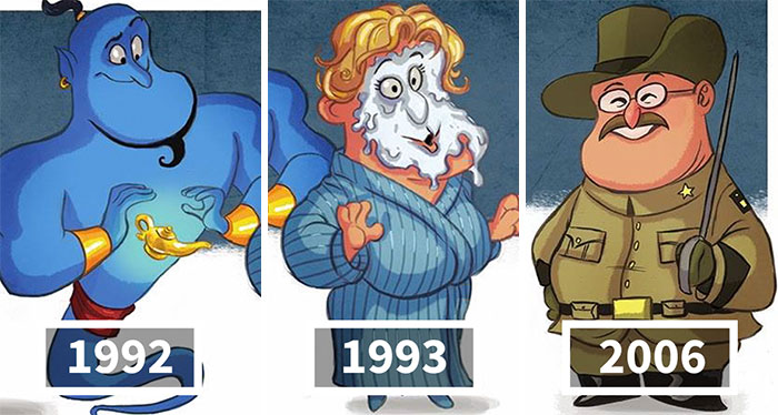 I Illustrate Evolutions Of Famous Actors And Characters