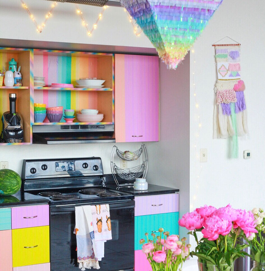this woman has the most colorful apartment you ve ever seen and even