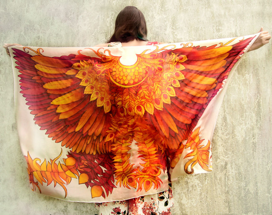 I Hand-Painted This Silk Scarf That Will Give You Firebird Wings ... 0dcab30bfb2