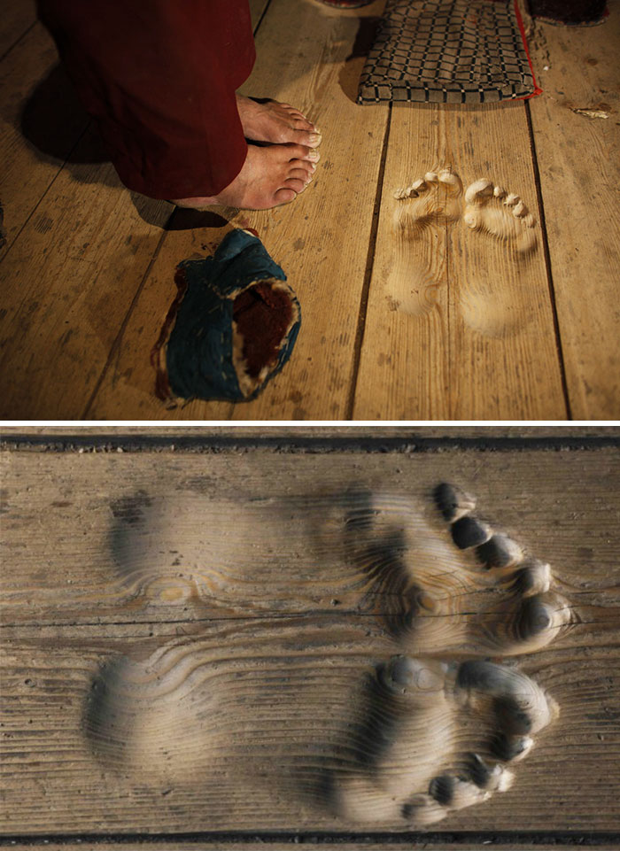 Footprints Are Carved Into The Floorboards By Monk Who Has Prayed At The Same Spot For 20 Years