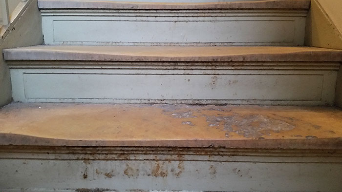 These Old Stairs At My University Have Been Worn Down From All The Traffic