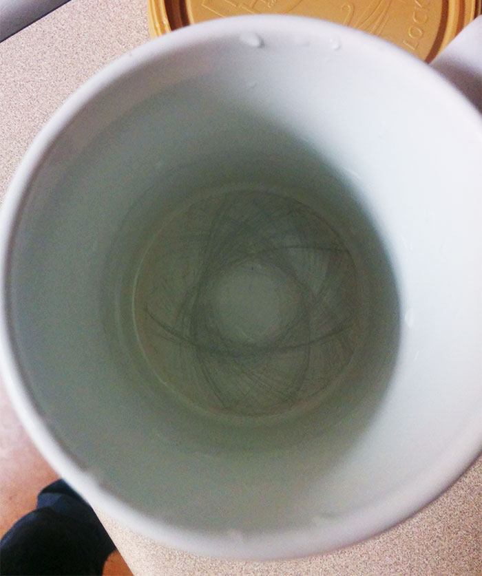The Markings On The Bottom Of My Coffee Cup From A Year Of Stirring