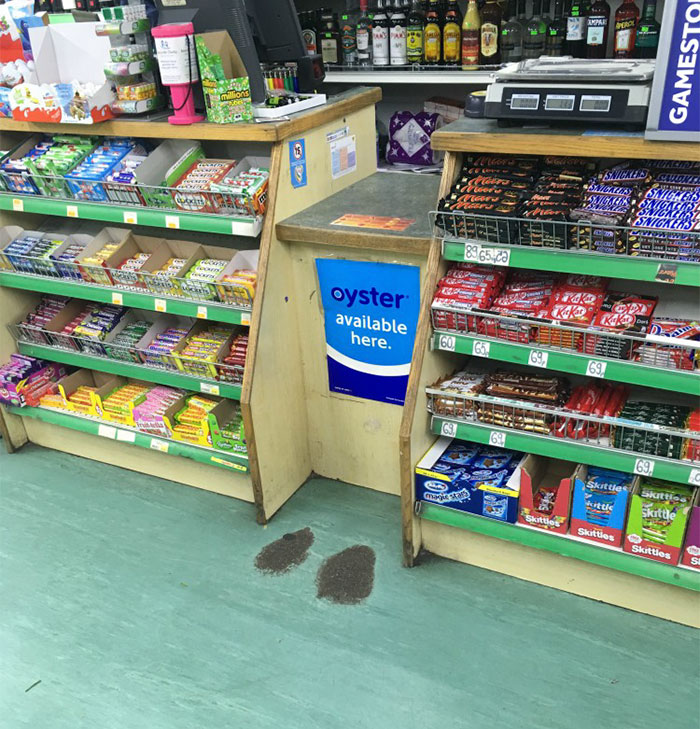 The Floor Has Worn Out Where People Have Been Standing At My Local Shop