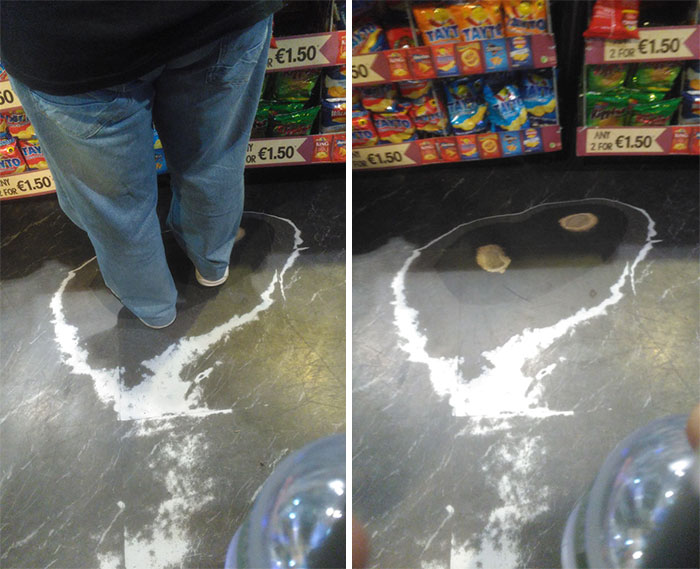 This Floor Is Worn Through Where People Have Stood In The Same Position At The Checkout
