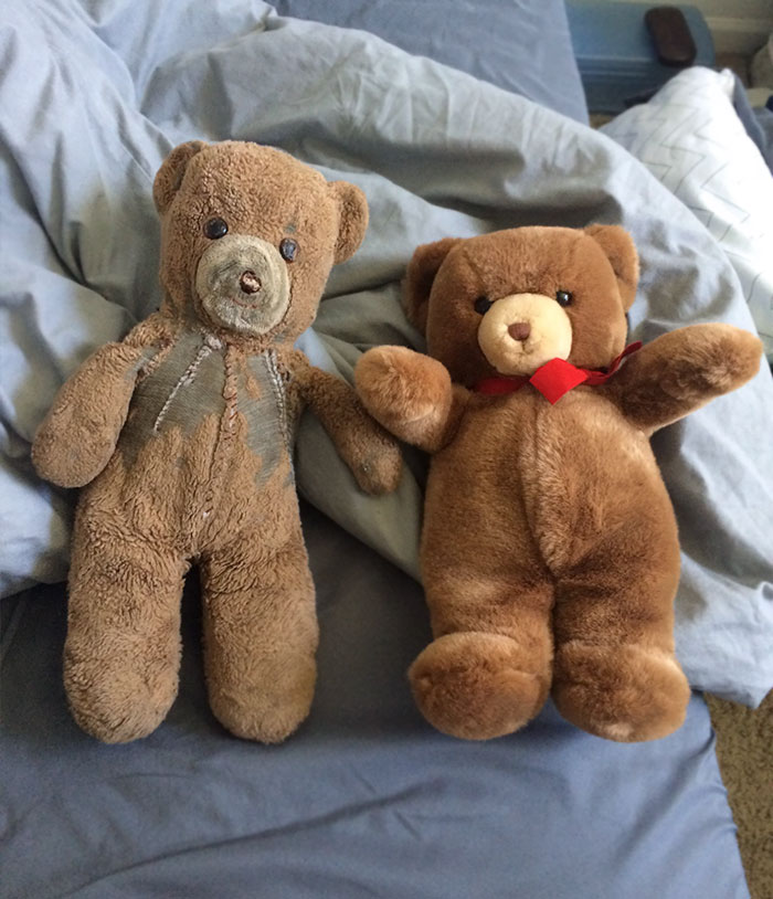 When My Brother Was Born In 1985, My Mother Purchased Two Identical Teddy Bears. The One On The Left Has Been My Brother's For 30 Years, The One On The Right Has Been Kept In Storage For My Brother's First Child Who Was Born Today