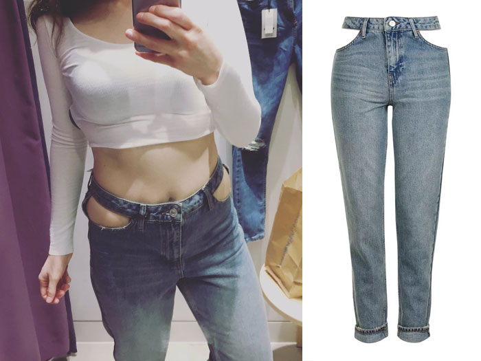 Cut Out Pocket Mom Jeans