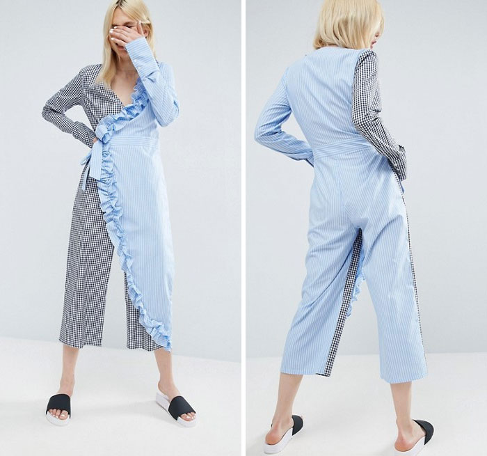 Wrap Jumpsuit In Cotton Stripe With Frill