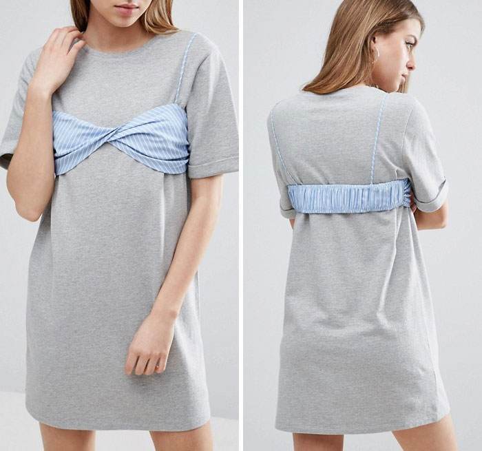 T-shirt Dress With Contrast Stripe Bra