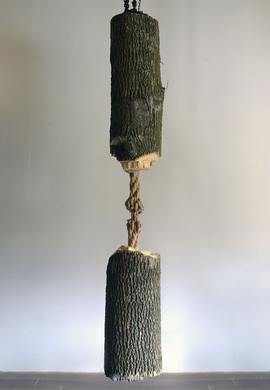 Giant Tree Trunk Carved Down To Frayed Rope By Maskull Lasserre 1