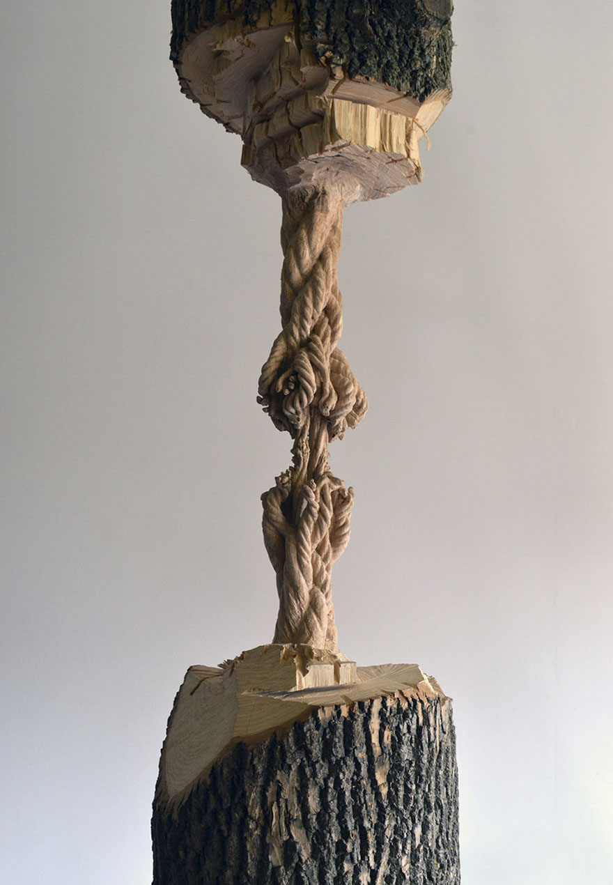 Giant Tree Trunk Carved Down To Frayed Rope By Maskull Lasserre 2