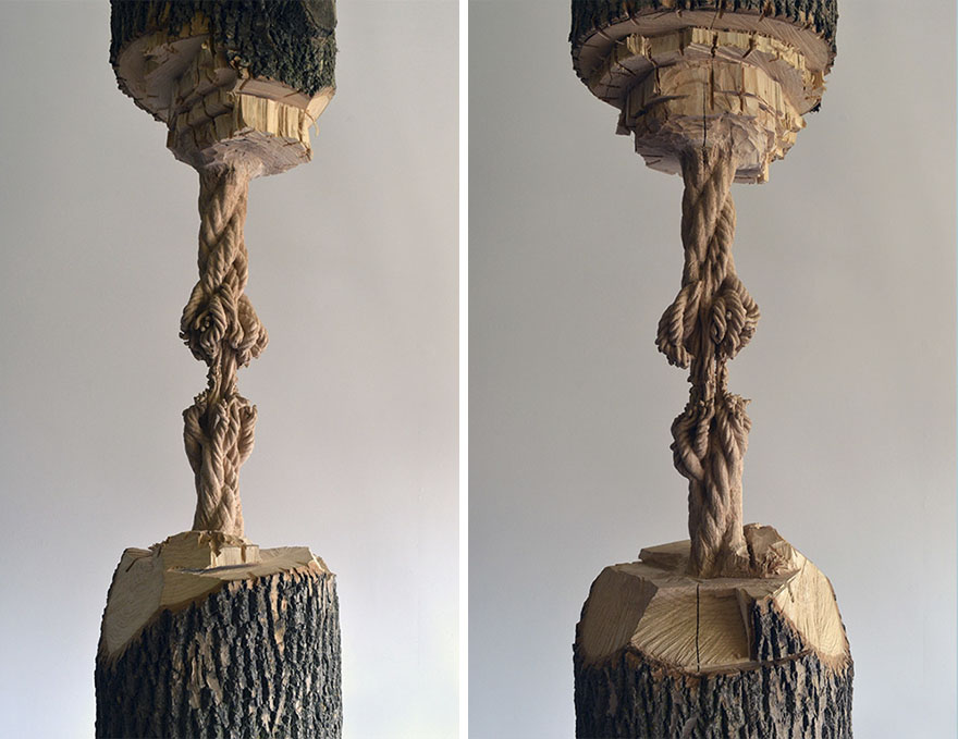 Giant Tree Trunk Carved Down To Frayed Rope By Maskull Lasserre 4