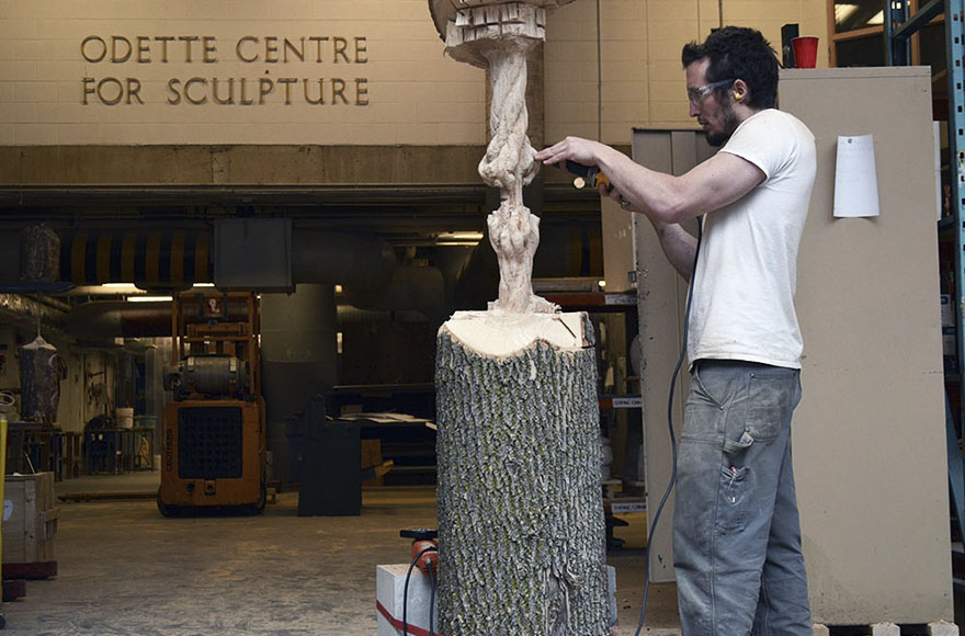 Giant Tree Trunk Carved Down To Frayed Rope By Maskull Lasserre 6