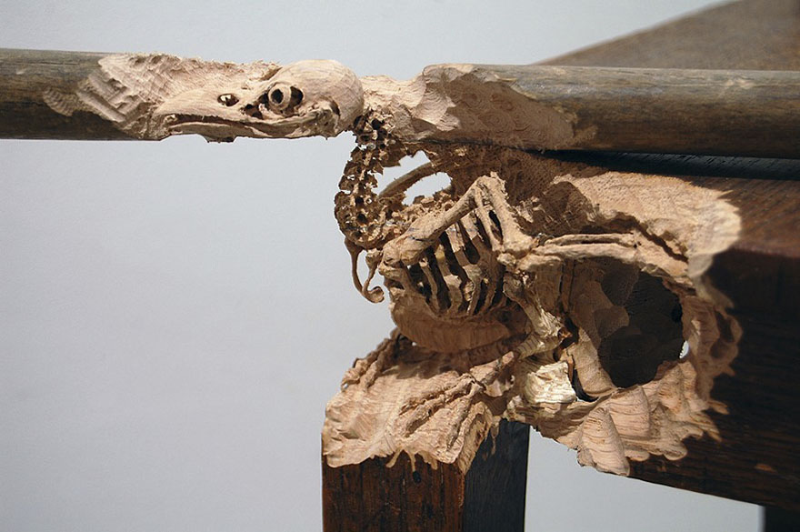 Giant Tree Trunk Carved Down To Frayed Rope By Maskull Lasserre 12