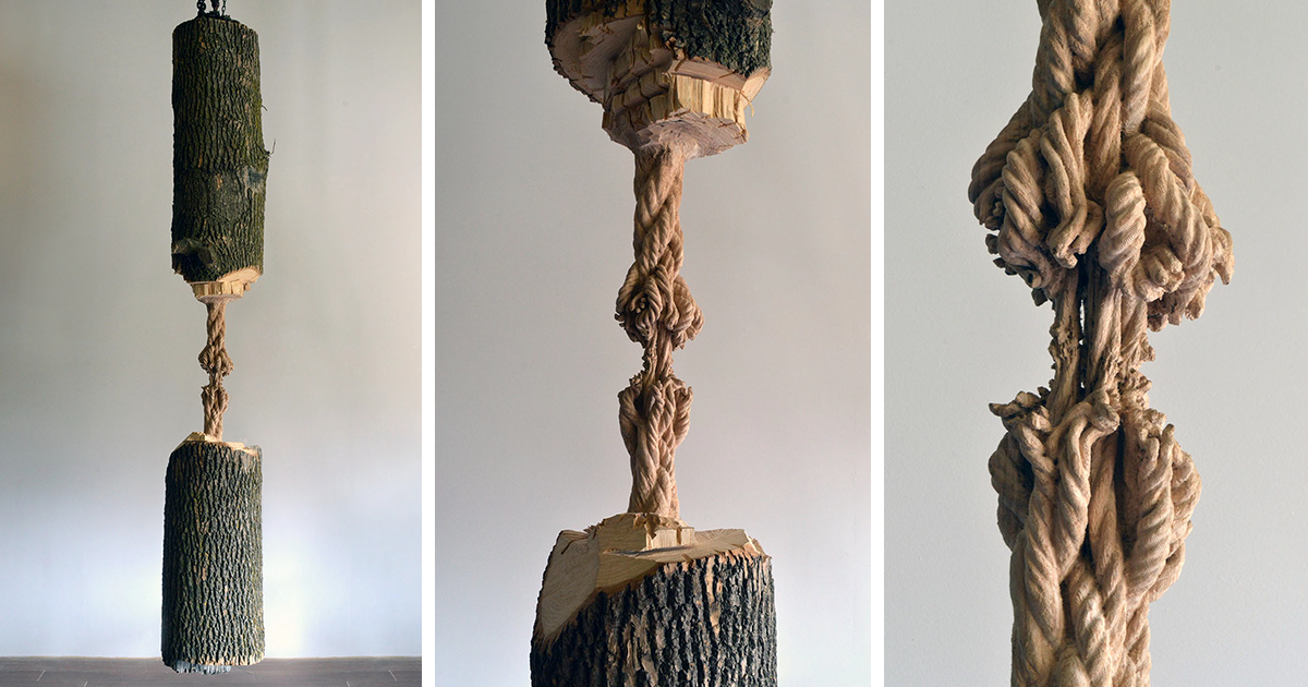 Giant Tree Trunk Carved Down To Frayed Rope By Maskull Lasserre
