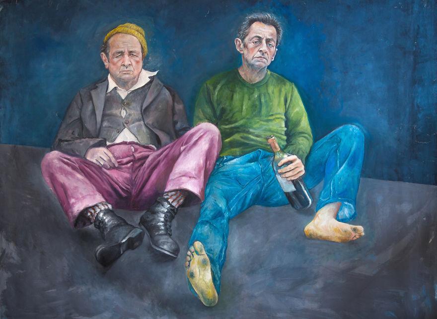 François Hollande And Nicolas Sarkozy