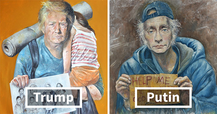 World Leaders Reimagined As Refugees In A Powerful Project By A Syrian Artist