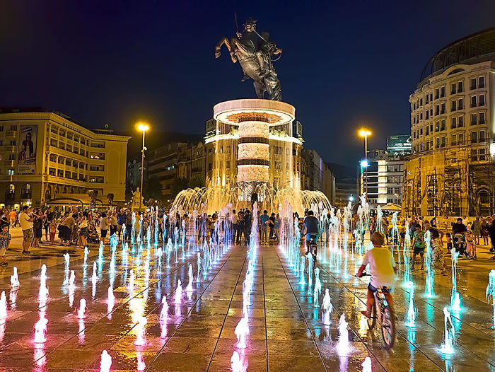 Fuente de Alejandro Magno, Skopje, Macedonia