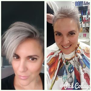 Was Long Dark Brown To Short Grey Buzz Cut