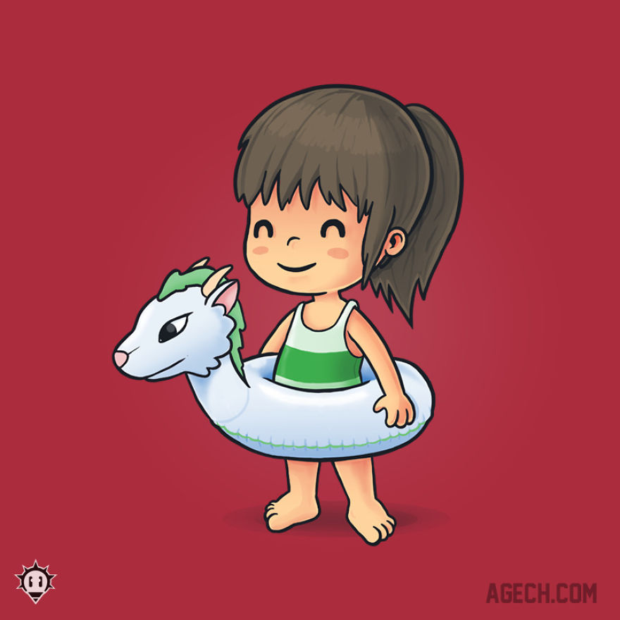 Chihiro Is Also Ready For Summer! Haku, The Dragon, Would Never Let Her Sink!