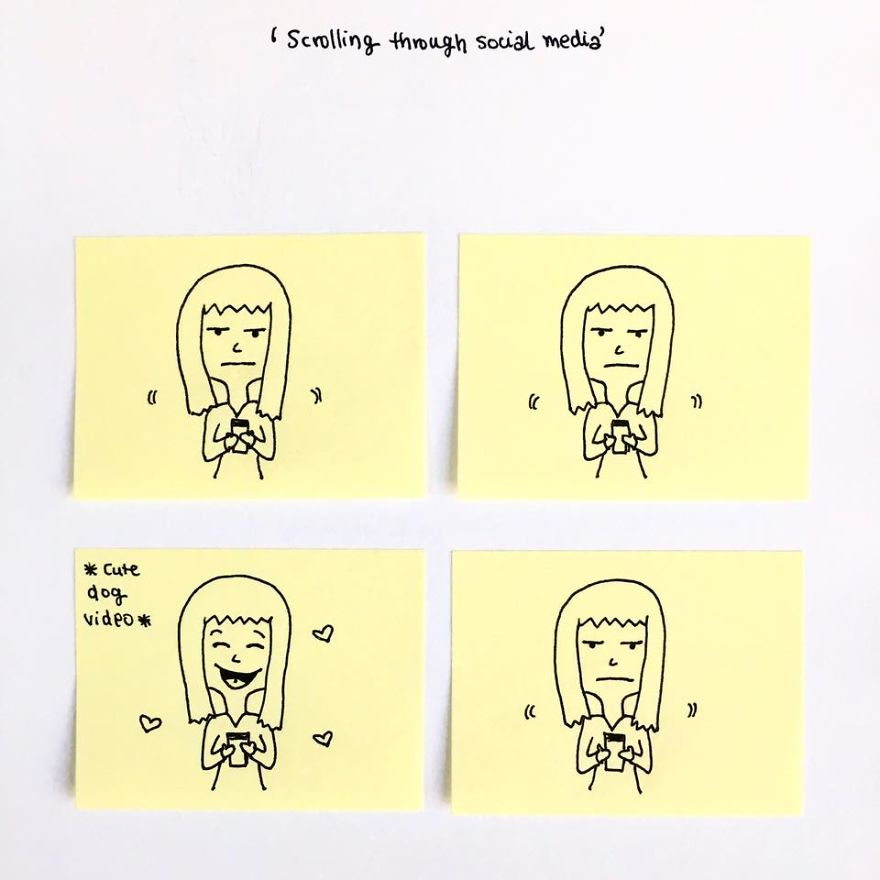 Turning Post-it Notes Into Fun Comics, Scribbling Down Annoying And Awkward Social Situations
