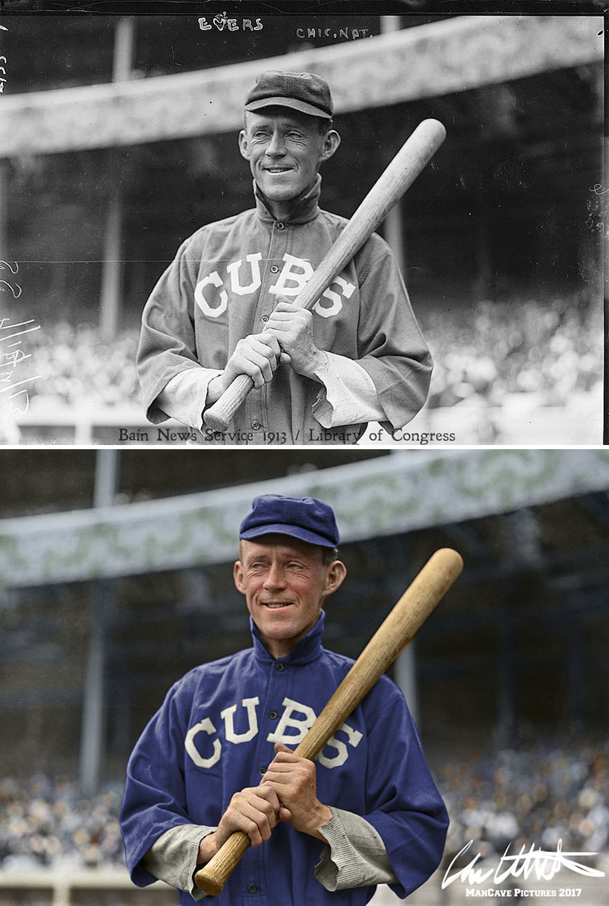 Johnny Evers. Chicago Cubs, 1913