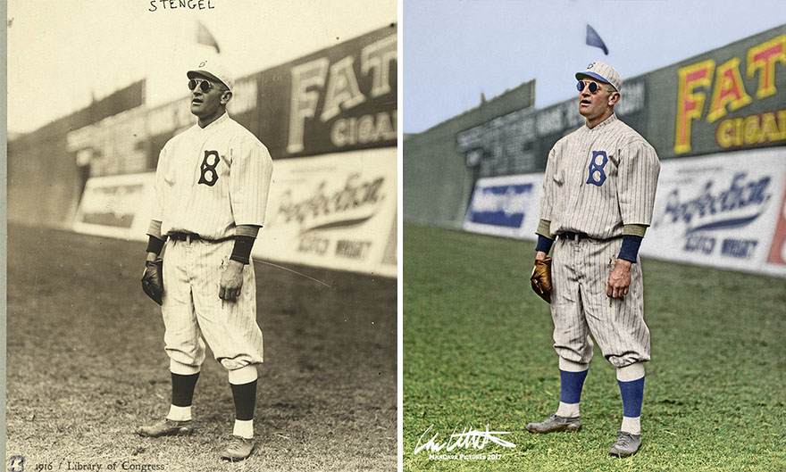 Casey Stengel. Brooklyn, 1915