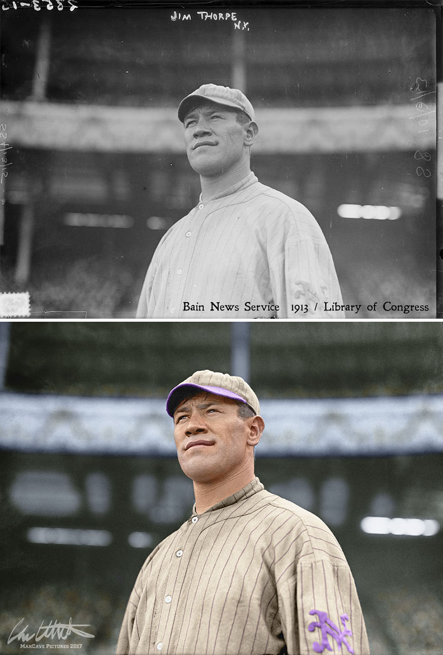 Jim Thorpe. New York Giants, 1913, One Year After Winning The Decathlon And Pentathlon Gold Medals In The Stockholm Olympics