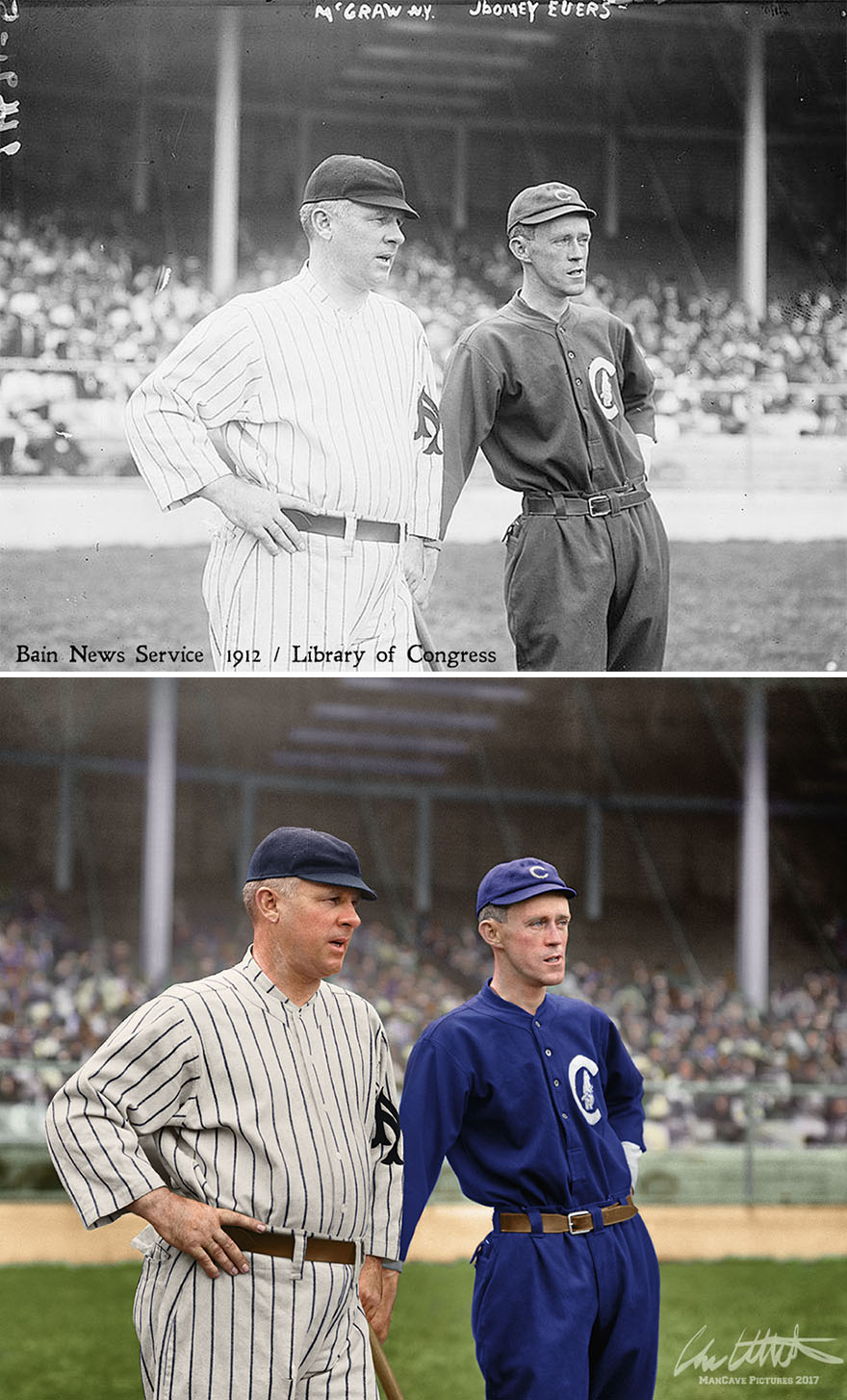 New York Giants Manager John Mcgraw With Chicago Cubs Star Johnny Evers, 1912