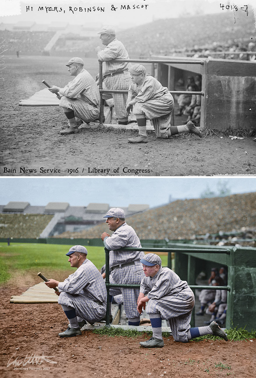 Trio Of Brooklyn Robins At Braves Field, Boston, 1916