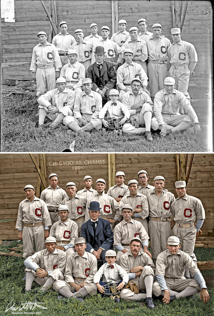 The First Champions Of The New American League. Chicago White Sox, With Owner Charles Comiskey, 1901