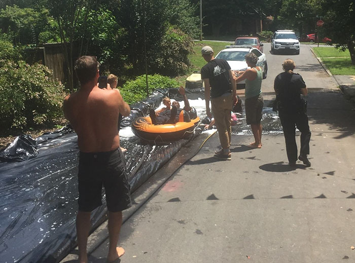 Neighbour Calls Police To Shut Down This Illegal Slip'N Slide, But Things Don't Go As Planned