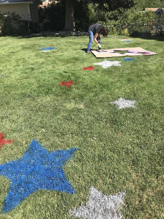 My Crazy Aunt Is Spraying Stars In The Backyard For The Family Bbq On The 4th.