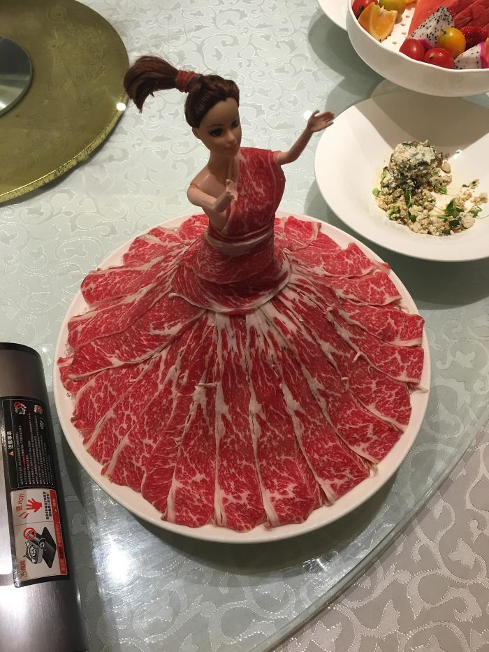 Meat Served On A Barbie Doll